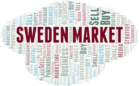 Sweden Market word cloud. Vector made with text only