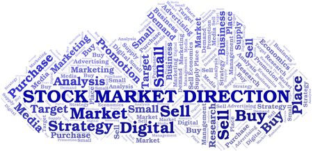 Stock Market Direction word cloud. Vector made with text only