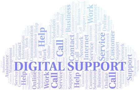 Digital Support word cloud vector made with text only Illustration