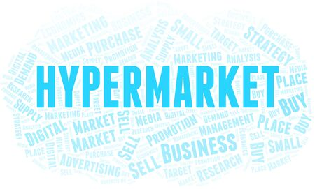 Hypermarket word cloud. Vector made with text only