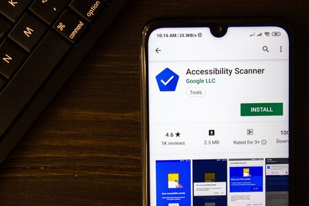 Ivanovsk, Russia - July 21, 2019: Accessibility Scanner app on the display of smartphone