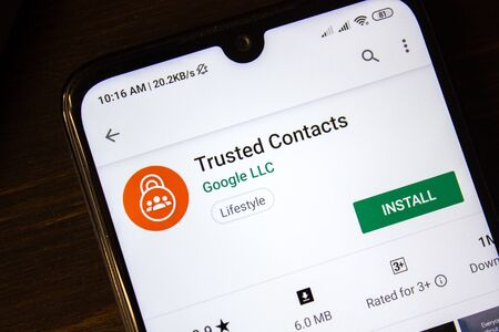 Ivanovsk, Russia - July 21, 2019: Trusted Contacts app on the display of smartphone