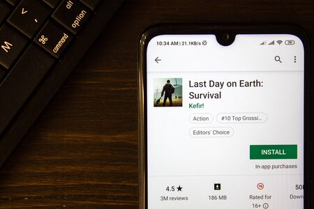 Ivanovsk, Russia - July 21, 2019: Last Day on Earth - Survival app on the display of smartphone