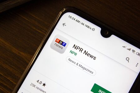 Ivanovsk, Russia - July 21, 2019: NPR News app on the display of smartphone