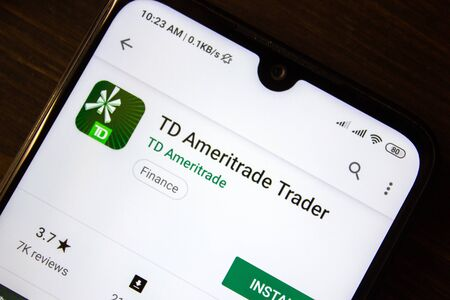 Ivanovsk, Russia - July 21, 2019: TD Ameritade Trader app on the display of smartphone