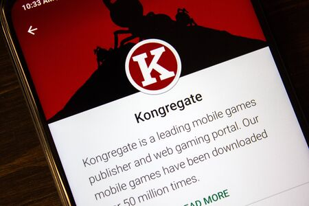 Ivanovsk, Russia - July 21, 2019: Kongregate app on the display of smartphone