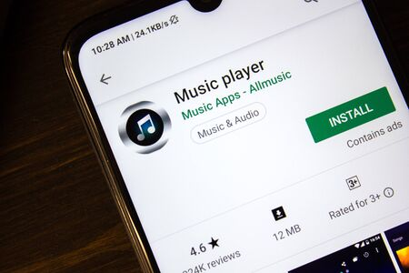 Ivanovsk, Russia - July 21, 2019: Music Player app on the display of smartphone 新聞圖片