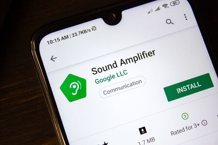 Ivanovsk, Russia - July 21, 2019: Sound Amplifier app on the display of smartphone