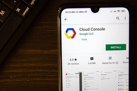 Ivanovsk, Russia - July 21, 2019: Cloud Console app on the display of smartphone