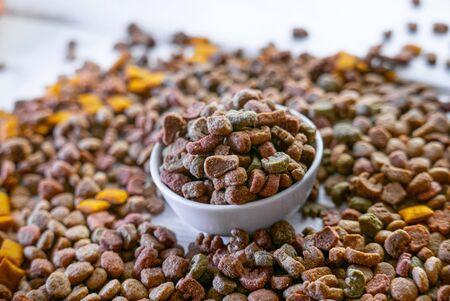 Dry pet food in a white ceramic bowl.