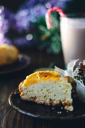 Shot of christmas pie - delicious cake over the dark table