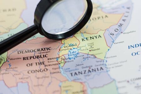 Uganda on the map of the world or atlas. Editöryel