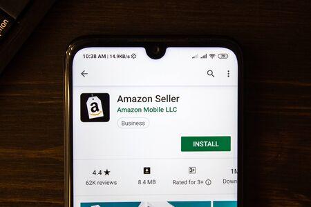Ivanovsk, Russia - July 21, 2019: Amazon Seller app on the display of smartphone Editöryel