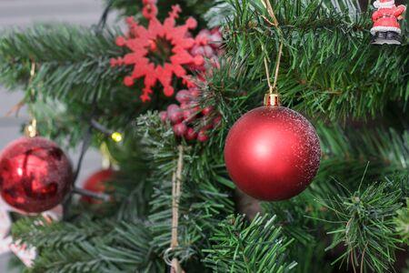 Red christmas ball on the christmas tree