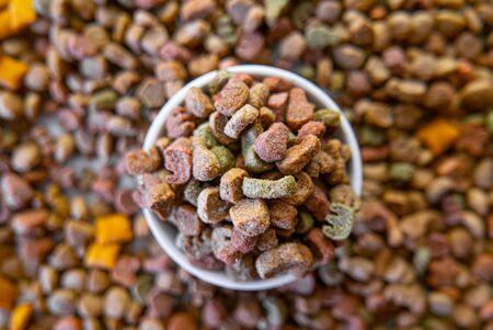 Top view of colorful dry pet food in a white ceramic bowl. 版權商用圖片