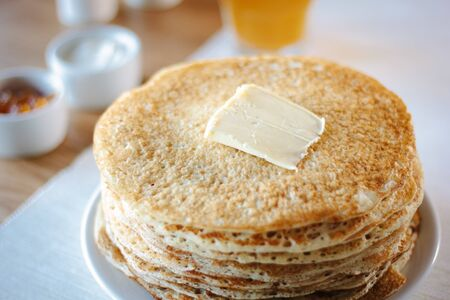 Hip of thin russian pancakes, called blini, at restaurant