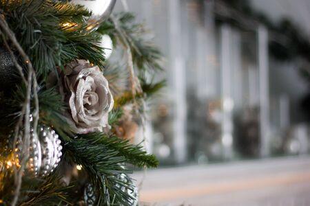 A Christmas decoration background - toys on pine tree. 版權商用圖片