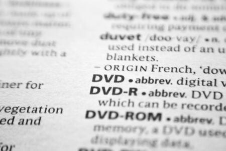 Word or phrase DVD in a dictionary 版權商用圖片