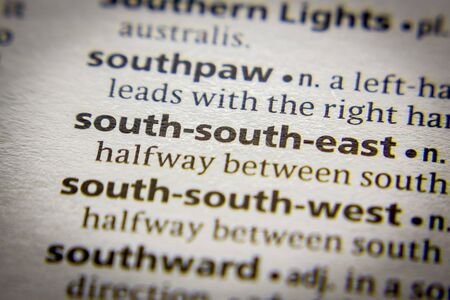 Word or phrase South-south-east in a dictionary 版權商用圖片