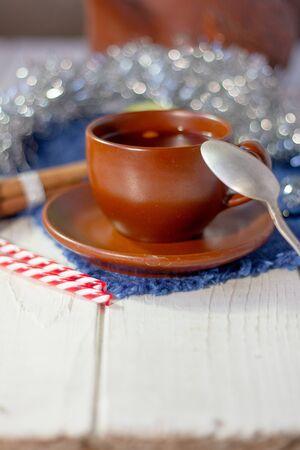 Beautiful christmas tea on white wooden table