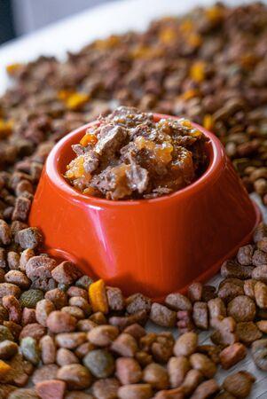 Natural wet pet food in a red or orange plastic bowl.