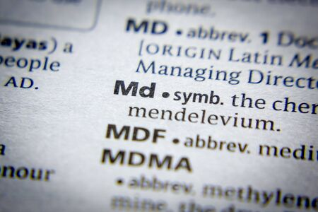 Word or phrase Md in a dictionary 版權商用圖片