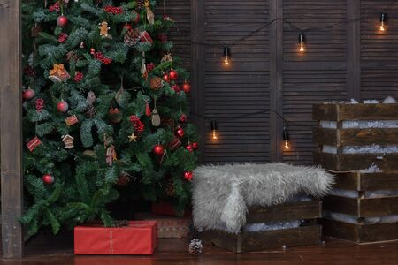Interior decorated for christmas - room with christmas tree