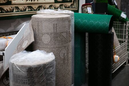 Big roll of carpet in a home decoration mall.