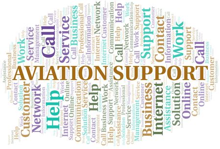 Aviation Support word cloud vector made with text only 向量圖像