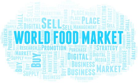 World Food Market word cloud. Vector made with text only