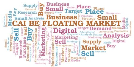 Cai Be Floating Market word cloud. Vector made with text only