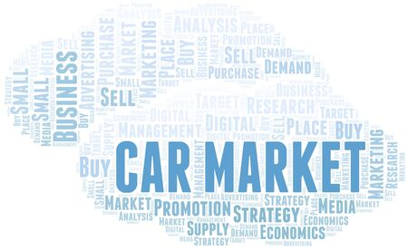 Car Market word cloud. Vector made with text only Illustration