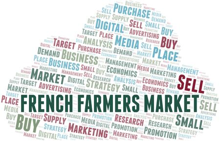French Farmers Market word cloud. Vector made with text only