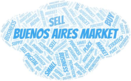 Buenos Aires Market word cloud. Vector made with text only