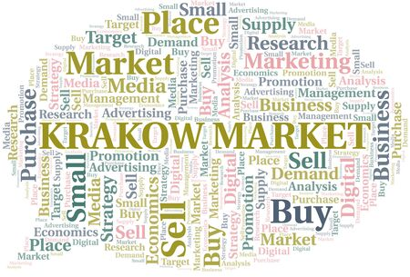Krakow Market word cloud. Vector made with text only