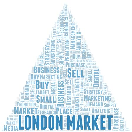 London Market word cloud. Vector made with text only 向量圖像