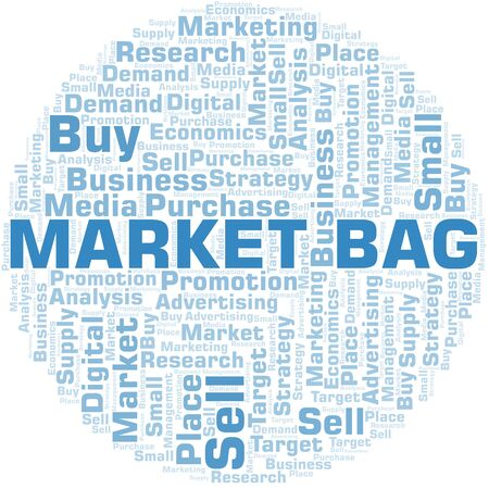 Market Bag word cloud. Vector made with text only