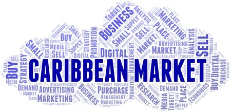 Caribbean Market word cloud. Vector made with text only 向量圖像