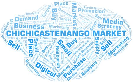 Chichicastenango Market word cloud. Vector made with text only
