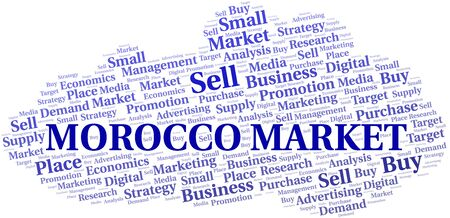 Morocco Market word cloud. Vector made with text only