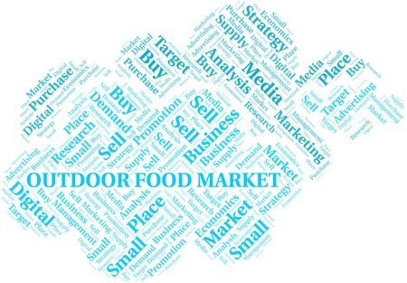 Outdoor Food Market word cloud. Vector made with text only