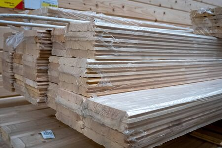 Hip of wooden planks in a construction shop 版權商用圖片