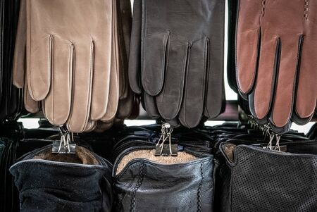 Leather gloves for a winter season