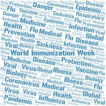 World Immunization Week word cloud on white background. Wordcloud made with text only.