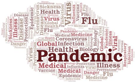 Pandemic word cloud on white background. Wordcloud made with text only.
