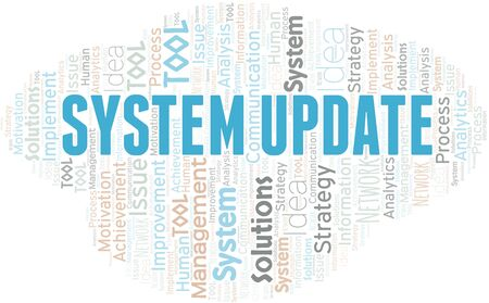 System Update typography vector word cloud. Wordcloud collage made with the text only.
