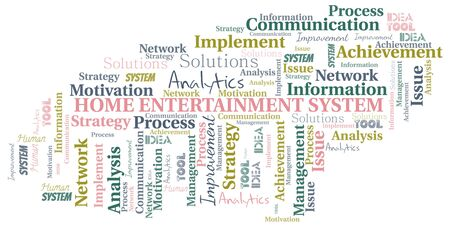Home Entertainment System typography vector word cloud. Wordcloud collage made with the text only. Illustration