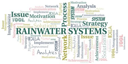 Rainwater Systems typography vector word cloud. Wordcloud collage made with the text only.