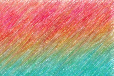 Red, yellow and blue lines Wax Crayon with low coverage abstract paint background.