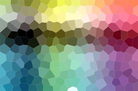 Abstract illustration of blue, green, red and purple colorful middle size hexagon background Stock Photo